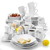 MALACASA, Serie Elisa, 50-teilig Tafelservice aus Porzellan, Kombiservice Frühstückservice Kaffeeservice mit Eierbecher, Kaffeetassen, MüsliSchälen, Dessertteller usw. für 6 Personen Grauweiß
