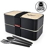 VALELA Lunchbox - Praktische Bento Box für den Transport von Mahlzeiten - Design Brotdose für die Schule und Arbeit für Kinder & Erwachsene - 3 teiligem Besteck+ E-Book