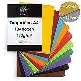 OfficeTree Tonpapier A4 Bunt - 10 Farben + 2 Gold- und 2 Silberbögen - Buntes Bastelpapier 104 Blatt 130g/m² - Tonkarton zum Basteln und Gestalten
