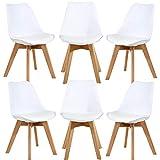 WAFTING 6er Set Esszimmerstühle Gepolsterter Seitenstuhl mit Buchenholz-Beinen und Weich Gepolsterte Tulip Chair für Esszimmer Wohnzimmer Schlafzimmer Küche, 6er Set(gepolstert weiß)