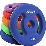 ScSPORTS Hantelscheiben Neopren mit Griffen, 10 kg Set: 2 x 5 kg, Guss Gewichte, 30/31 mm Bohrung, Blau