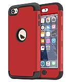 Dailylux iPod Touch 7 Hülle,iPod Touch 5/6 Hülle,3in1 Hybrid Schutzhülle PC + Weiche Silikone Anti-stoß Schutzhülle Tasche Case Cover für iPod Touch 5/6/7th Generation-Rot+Schwarz