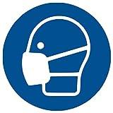 HERMA 12929 Hinweis Aufkleber Mundschutz tragen 20er Set (Ø 10 cm, 5 Blatt, Polyesterfolie) selbstklebend, wetterfest, rückstandsfrei ablösbare Hinweisschilder, blau