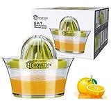 HomeTeck Zitronenpresse, 4 in 1 Orangenpresse Manuelle Limettenpresse Zitruspresse, Plastik, BPA-frei, Spülmaschinenfest, Eingebauter Messbecher und Reibe, Reibahlextraktions, Eiertrenner,Grün