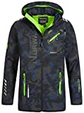 Geographical Norway Herren Softshell Outdoor Jacke Rainman/Royaute Camo Turbo-Dry Kapuze Navy/Green 3XL