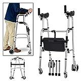 WUHX Behindertentrolley, Verstellbarer Gehhilfe-Rahmen für Behinderte, mit Ledersitzkissen, für ältere Patienten, nach der Operation,4foottube