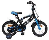 AMIGO BMX Fun - Kinderfahrrad für Jungen - 12 Zoll - mit Handbremse, Rücktritt, Lenkerpolster und Stützräder - ab 3-4 Jahre - Schwarz/Blau