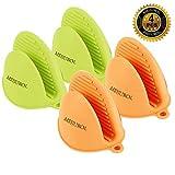 MEIJUBOL Silikon Ofen Topflappen Handschuhe Set von 2 Paare (Grün und Orange) Hitzeresistent für küche Kochen Backen Finger schützen Von Heiße Platte Dish und Schüssel