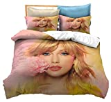 3D Taylor Alison Swift Bettbezug, amerikanische Sängerin T-Swizzle, Album Fearless, Luxusbettwäsche, Heimtextilien,230x260cm(3Stück)