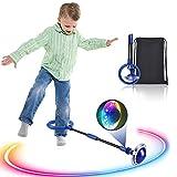Kqpoinw Kinder Blinkender Springring, Knöchelsprungball Glühender Springender Ball Blinkender Sprungball Fettverbrennungsspiel für Kinder und Erwachsene (Blau)