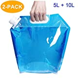 CAVN Faltbarer Wasserkanister 5L + 10L [2 Packs] Wasserbehälter Trinkwasser Behälter für Wandern Camping Picknick Reise BBQ, [PE Plastik] [BPA Frei]