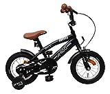 AMIGO BMX Fun - Kinderfahrrad für Jungen - 12 Zoll - mit Handbremse, Rücktritt, Lenkerpolster und Stützräder - ab 3-4 Jahre - Schwarz