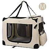 MC Star Transportbox Hundebox Hundetransportbox Katzen Faltbar Wasserdicht Oxford Leichte mit Fleece-Matte Beige M