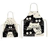 Schürze für Erwachsene und Kinder, 2 Stück, schwarze Katzenmuster, verstellbare Lätzchen, Schürzen für Erwachsene, Jungen, Mädchen, Geschenk, Malen, Kochen, Backen, Küchenschürzen