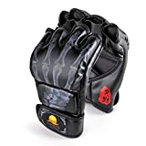 ZooBoo MMA Handschuhe, Halbfinger-Boxhandschuhe MMA Handschuhe mit verstellbarem Handgelenkband, UFC Handschuhe für Sanda, Sparring, Boxsack, Trainingshandschuhe, GS-Schwarz