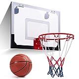 GOPLUS Basketballkorb, Basketball-Set, Backboard mit Ring und Netz, Basketballboard, Basketballbrett, Basketballring an der Tür