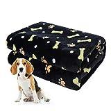 softan Hundedecke, Flauschige Haustierdecke für Kleine Mittlere Große Hunde, Waschbare Welpendecke, Weiche und Warme Flanellfleece Katzendecke, 80 * 100cm, Schwarz