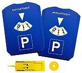 M&H-24 Parkscheibe Parkuhr Auto mit Einkaufswagenchip und Reifenprofilmesser - Parkscheibe mit Eiskratzer Kunststoff Blau, 2 Stück