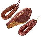 Serrano Schinken Gereift ohne Knochen 1 Kg (Jamon Serrano) + Chorizo Paprikawurst 200 gr + Salchichón Dauerwurst Extra 200 gr - Jamonprive