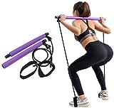 Pilates Stick Bar Kit Mit Widerstandsband, Yogatrainer Fitness-Rute Mit Fußschlaufe,Lila