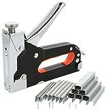 com-four® Handtacker mit Zubehör, leistungsstarker Werkzeugtacker mit regulierbarer Schusskraft und DREI verschiedenen Sorten Tackernägeln (01 Stück - silberfarben/schwarz)