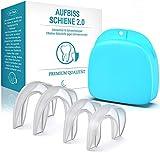 Premium Aufbissschiene [4er Set] - Verbessertes Konzept 2019 - Neuartige Knirscherschiene Zahnschiene gegen Zähneknirschen - Zähne Zahnschutz Beissschiene für die Nacht inkl
