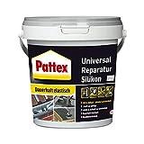 Pattex Universal Reparatur Silikon, Dichtmasse zum regenfesten Reparieren von Rissen, Löchern & Anschlüssen im Baubereich, hochelastisches Bausilikon für innen & außen, 1x750g Eimer