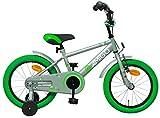 Amigo Sports - Kinderfahrrad für Jungen - 16 Zoll - mit Handbremse, Rücktritt, Lenkerpolster und Stützräder - ab 4-6 Jahre - Grau/Grün