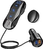 Bluetooth 5.0 FM Transmitter, SONRU Bluetooth Auto Radio Adpter Freisprecheinrichtung Dual USB Ports (QC3.0/2.4A) mit 1.1M Kabel, A2DP Crystal Sound Qualität, Spannungsanzeige, TF Karte Play