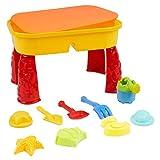 Sand & Wasser Spieltisch mit Deckel & 8 Strandspielzeug (5 Sandformen, Boot, Gießkanne, Spaten & Gabel) - Sandkasten Spielzeug, Sandspielzeug, Sandkastentisch| Garden Outdoor Aktivität Set für Kinder