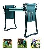 LISHAN Garten-Kniebank und Sitz, mit 2 zusätzlichen Werkzeugtaschen, 2-in-1, faltbar, tragbar, für Gartenarbeit, Gärtner, Gartenbank, Gartenhocker (grün)