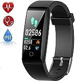 HETP Fitness Armband mit Pulsmesser Fitness Tracker Uhr Wasserdicht IP67 Blutdruckmesser Schrittzähler Uhr Stoppuhr Sport Aktivitätstracker Anruf SMS für Kinder Damen Männer