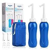 Tragbares Bidet E-More 2er Mobile Po Dusche Flasche Reise-Handheld Bidet mit Abgewinkelte und gerade Sprühdüse und Aufbewahrungsbeutel für draußen, Persönliche Hygiene und Babypfleg 480 ml