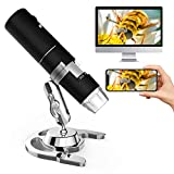 Wireless Digital Microscope, Handheld USB Microscope Camera with 8 Adjustable LED Lights HD Wi-Fi Endoscope 50 to 1000x Magnification for Android, iOS Phone,Ipad, Tablet