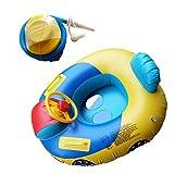 VORCOOL Schwimmsitz Baby Aufblasbares Kinderboot mit Lenkrad Schwimmring Schwimmhilfen für Baby Kleinkind 2 Stück