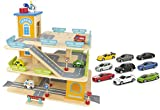 Leomark Große Parkgarage aus Holz - Wooden Parking - Garage mit Zubehör, Spielgarage mit Lift, Hubschrauber, Holzgarage mit 9 Sportwagen, Ab 3 Jahre
