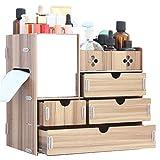EXQUILEG DIY Makeup Aufbewahrungsbox Make up Organizer Kosmetik Aufbewahrung Multifunktionale Aufbewahrungsbox Kosmetikorganizer Kosmetikbox mit 4 Schubladen aus Holz (B)
