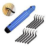 CUKCIC Handentgrater-Werkzeugsatz mit 11 Stück BS1010 360 ° Rotary Entgraterklingen, Gratentferner für Stahl, Aluminium, Kupfer oder Kunststoff