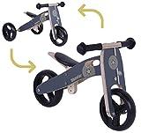 BIKESTAR Mini Kinder Laufrad Holz Lauflernrad mit DREI Rädern für Jungen und Mädchen ab 1 – 1,5 Jahre   2 in 1 Kinderlaufrad   Schwarz   Risikofrei Testen