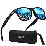 Perfectmiaoxuan Polarisierte Sonnenbrille Herren Damen Retro Sonnenbrille Männlich/Sport im Freien Golf Radfahren Angeln Wandern Eyewear Sonnenbrille (B1lue)