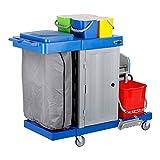 STIER Großer Hygiene- und Reinigungswagen, mit Tür, inkl. STIER Wischmop-Set und 5x STIER Moppbezug, Profi Putzwagen, mit Presse, mit 2 Eimern mit 18 l in rot/blau