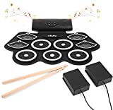 Elektronisches Schlagzeug Drum Set, Ohuhu 9 Pads Tragbare Roll Up Midi Tabletop Drum Schlagzeug Set mit Eingebautem Lautsprecher Drum Fußpedal Drumsticks für Kinder & Anfänger