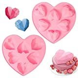 2 Stück Silikonform Herz Diamant, 6-Diamant 3D Silikon Backform Herz , Herz Silikonformen Muffinform zum DIY Cakesicle Kuchen,Muffincups, Schokolade,Fondant (Rosa)