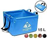 Outdoor Faltschüssel 15 Liter | Faltbare Camping Waschschüssel aus langlebigem Planen Gewebe| Platzsparende und leichte Alternative zur Plastik Spülschüssel und Spülwanne