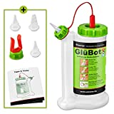 Pinava® Leimflasche - Original GluBot (ca. 500ml) - Kein Drehen, kein Schütteln & kein Warten - Leimspender für Holzleim Inkl. 4 Spitzen - Sauberes Auftragen & Dosieren - 8er Set, FastCap