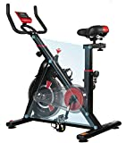 ISE neusten Indoor Cycle Ergometer Heimtrainer mit LCD Anzeige,Armauflage,Puls&gepolsterte Fitnessbike Speedbike mit Riemenantrieb-Fahrrad Ergometer SY-7021 (Schwarz)