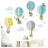 Little Deco Wandaufkleber Kinderzimmer Heißluftballon Tiere Junge I 2 A4 Bögen I Wandtattoo Wandsticker Ballon Babyzimmer Elefant Tiere Affen DL214-4