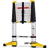 Lionladder EN131-6 3,8M Professionelle Teleskopleiter mit Stabilisator, Aluminium Mehrzweckleiter Eine-Taste-Rückzug, 150kg/ 330 lbs Belastbarkeit