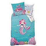 MERMAID MEERJUNGFRAU Mädchen Bettwäsche · Kinderbettwäsche · OCEAN GIRL · magische Momente in der Unterwasserwelt türkis, rosa, pink - Kissenbezug 80x80 + Bettbezug 135x200 cm - 100% Baumwolle