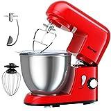 COSTWAY 1300W Küchenmaschine 4L Knetmaschine, Rührmaschine 6 Stufen, Teigmaschine mit Edelstahl Rührschüssel, Knethaken, Schneebesen und Rühr-/Schlagbesen (Rot)